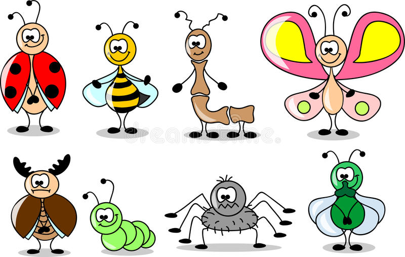 Cartoon set of different insects vector. Cartoon set of different insects ,vector illustration picture vector illustration