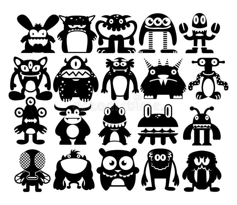 Cartoon Set Of Different Monsters Isolated stock illustration