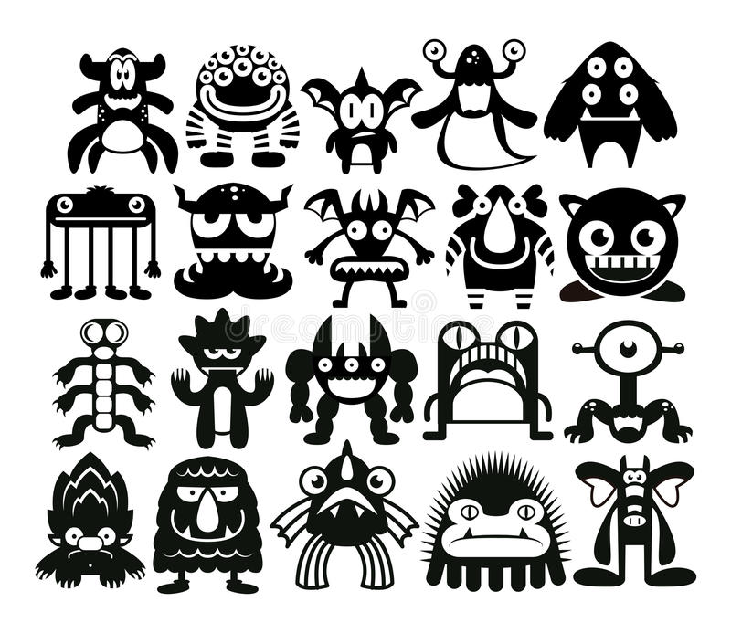 Cartoon Set Of Different Monsters Isolated royalty free illustration