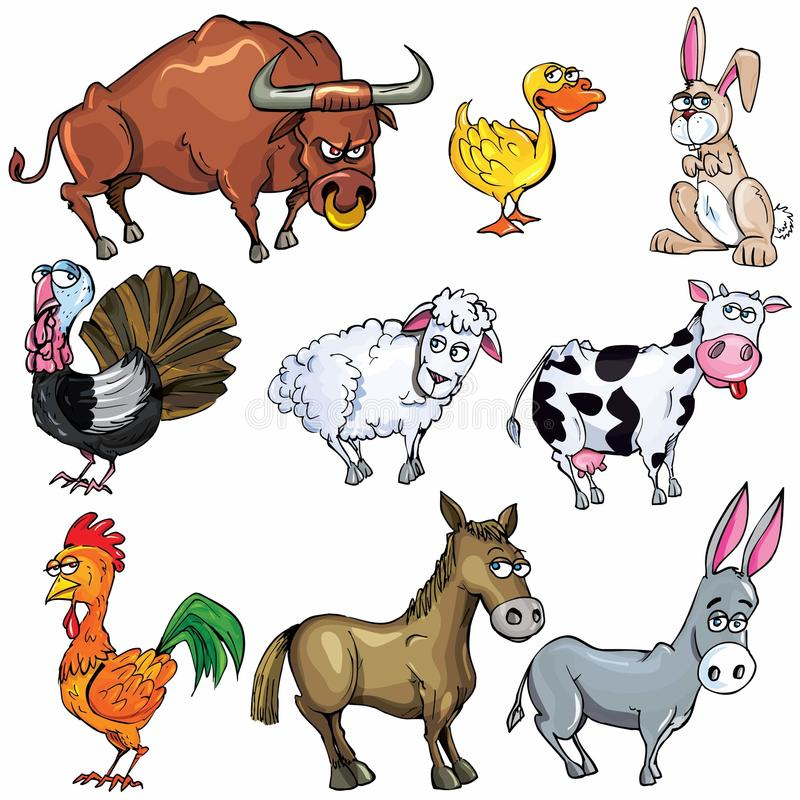 Cartoon set of farm animals stock photos