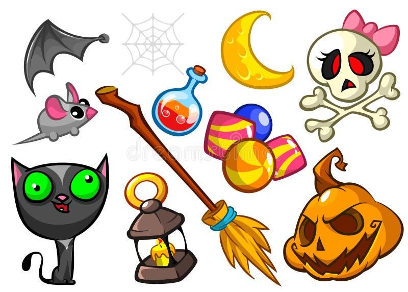 Cartoon set of Halloween symbols. Vector illustration royalty free stock photography