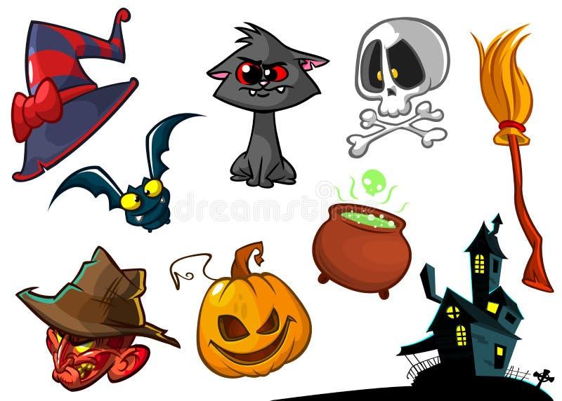 Cartoon set of Halloween symbVector illustration stock images