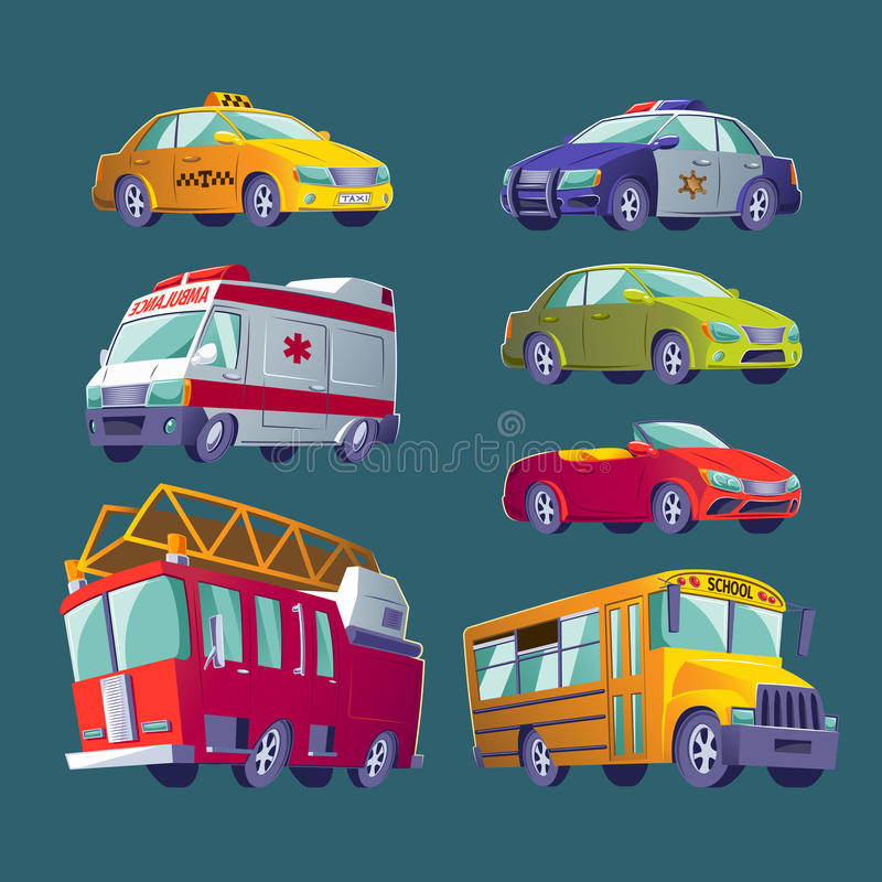 Cartoon set of icons of urban transport. Fire truck, ambulance, police car, school bus, taxi, private cars. vector illustration