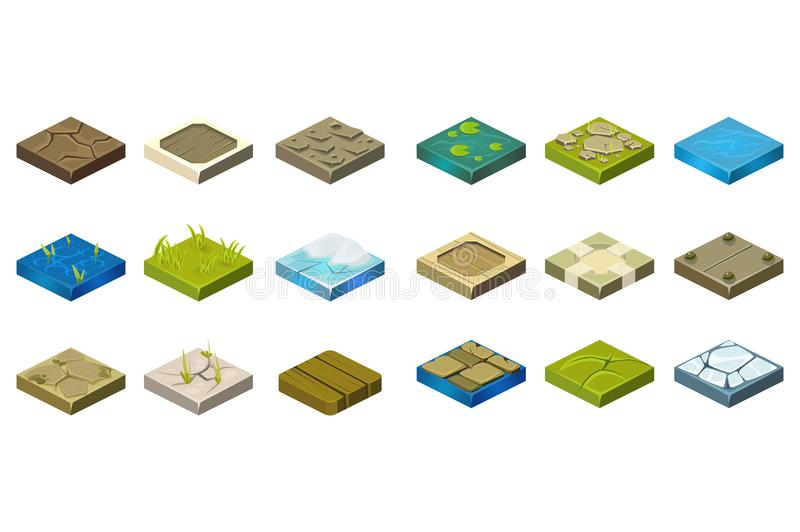 Cartoon set of isometric landscape tiles with different surfaces. Grass, ground, water, bog, stone, ice, dirt, wood. Elements for creating path. Design for vector illustration