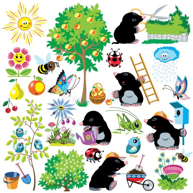 Cartoon set with mole in garden. Cartoon set with mole working in a garden, gardening collection for little kids, images isolated on white stock illustration