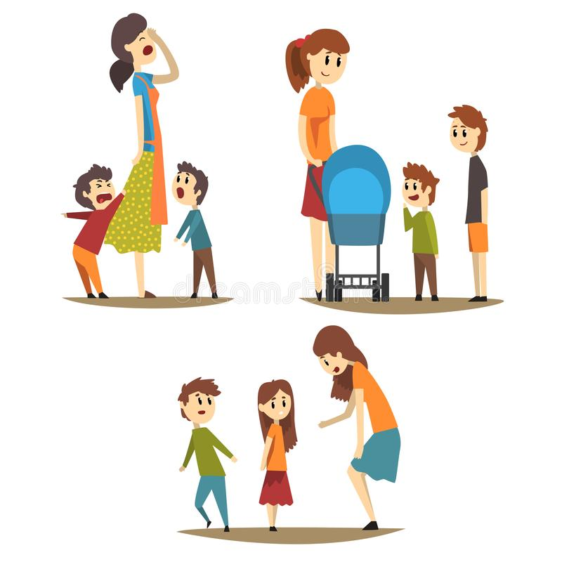 Tired housewife and loudly screaming sons, young mother with baby carriage and two boys next to her, woman scolding. Cartoon set of mother in different stock illustration