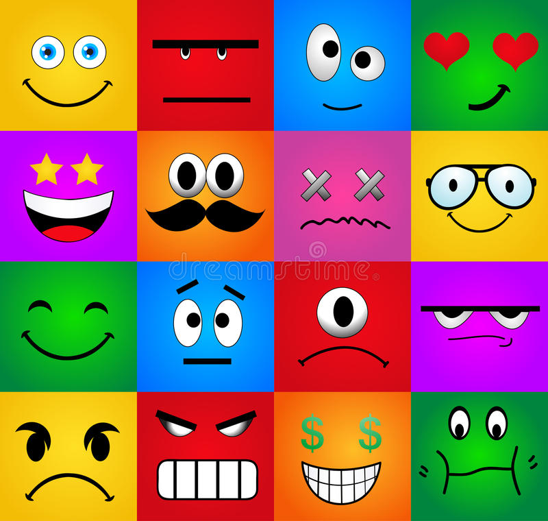 Free Cartoon Set Of Different Cute Faces Royalty Free Stock Photo - 40183965