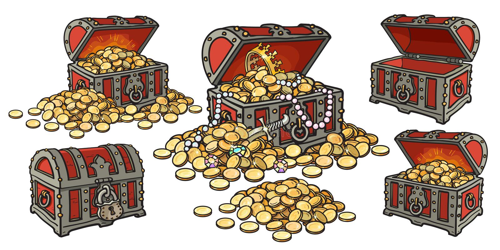 Cartoon set of pirate treasure chests open and closed, empty and full of gold coins and jewelry. Pile of golden money vector illustration