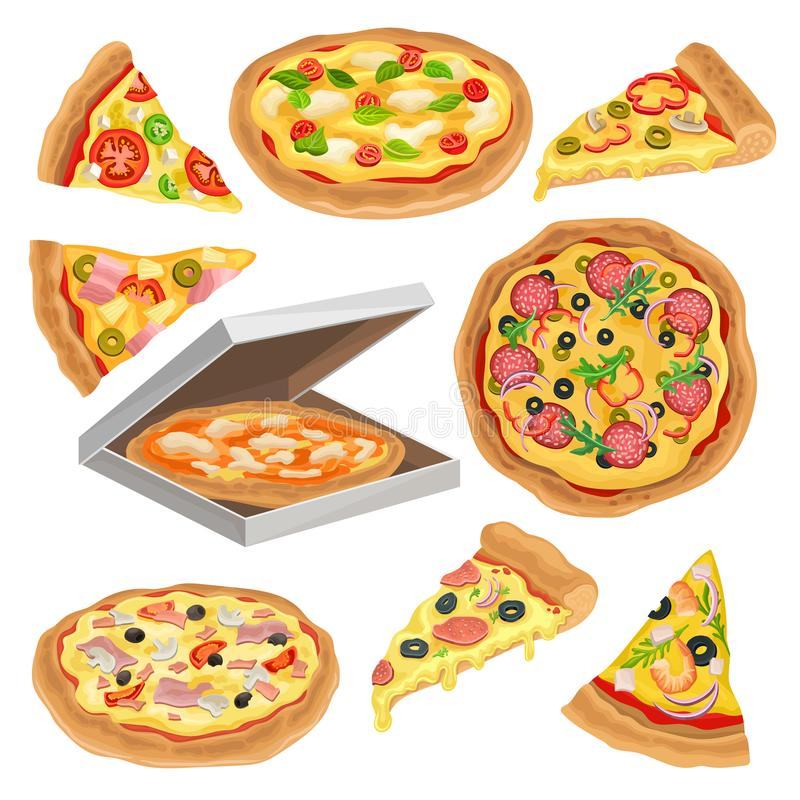 Flat vector set of round pizza, triangle slice and in cardboard box. Fast food theme. Element for promo poster, flyer or vector illustration