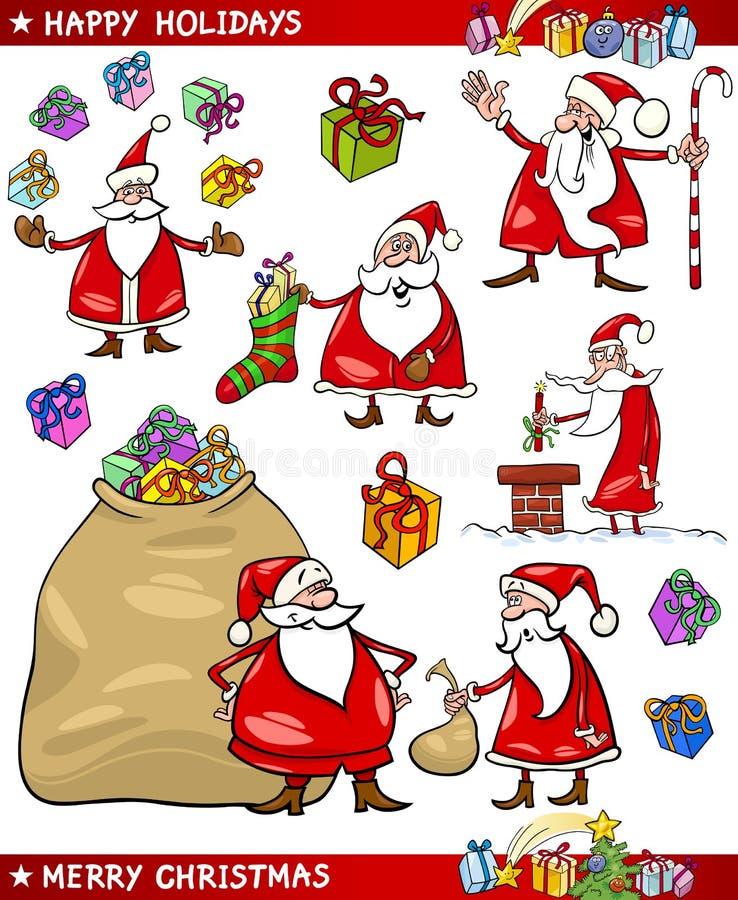 Cartoon Set Of Santa Christmas Themes Stock Photography