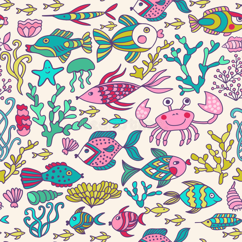 Cartoon set with sea live, vector set. Colorful sea animals, sea world seamless pattern, under water world wallpaper with fish, oc royalty free illustration