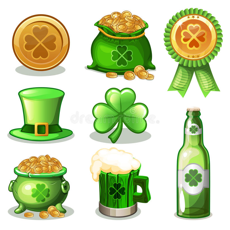 Cartoon Set Of St. Patrick Day green Icons, vector illustration