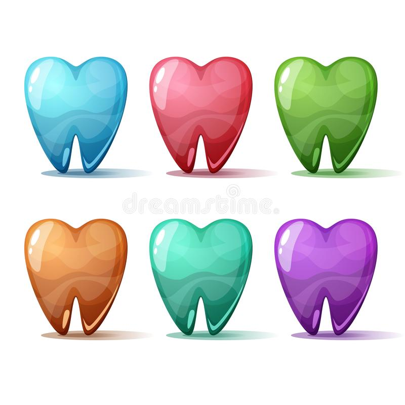Cartoon set tooth. Blue, red, pink, green, blue. royalty free illustration