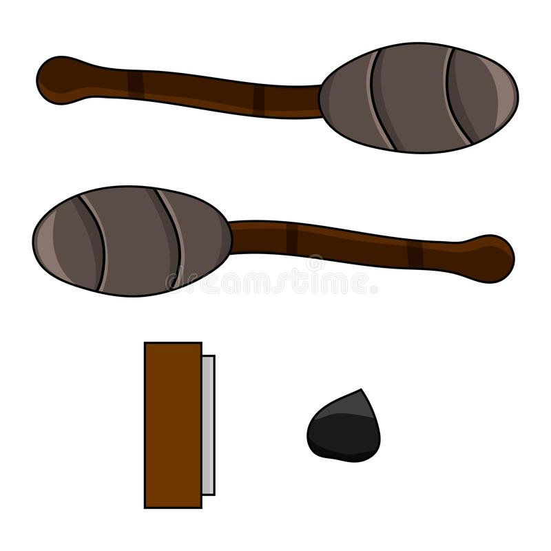 Cartoon Set of Torch and Flint isolated on white background. Adventure and Camping Items. Vector illustration for Your Design. Cartoon Set of Torch and Flint royalty free illustration