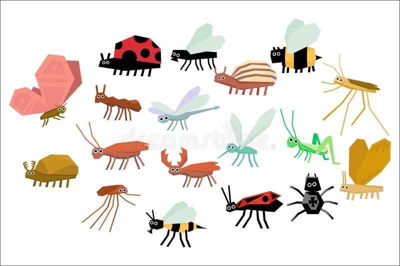 Cartoon set of various funny insects. Mite, mosquito, firebug, ladybug, fly, spider, butterfly, dragonfly, bee, wasp royalty free illustration
