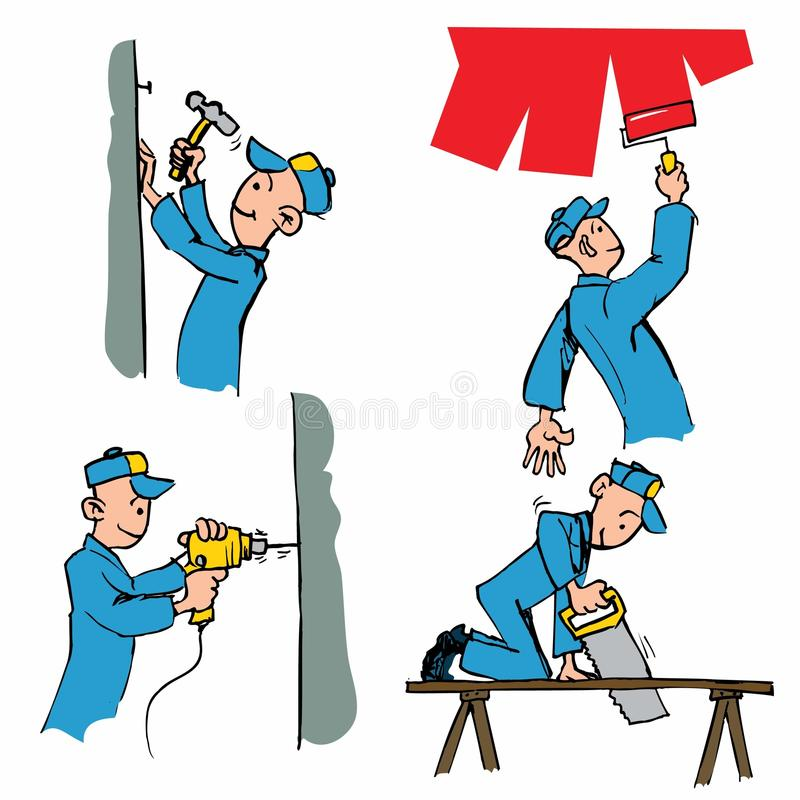 Download Cartoon Set Of Workman Doing Different DIY Chores Stock Vector - Image: 18893121