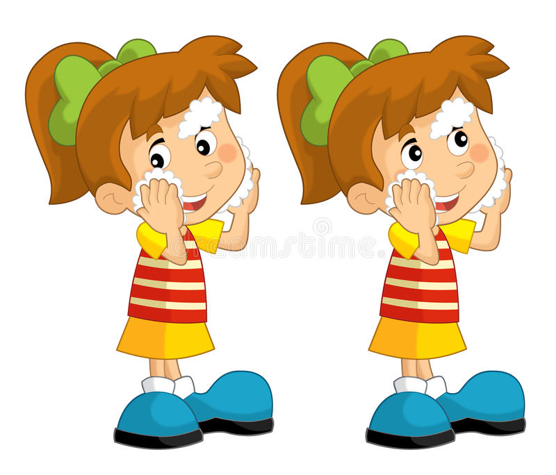 Cartoon Set Of Young Girls Standing And Washing Up Face ...