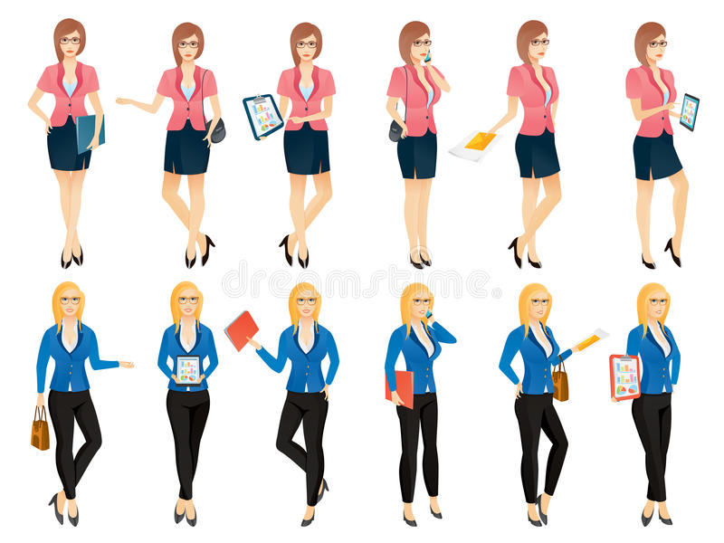 Download Cartoon Young Business Woman Or Secretary In Various Poses Stock Vector - Illustration of elegant, beautiful: 96934596