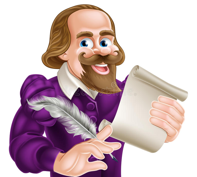 Cartoon Shakespeare. Cartoon of William Shakespeare holding a feather quill and paper scroll stock illustration