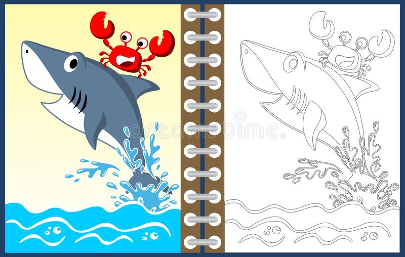 Cartoon of shark with crab, coloring page or book vector illustration