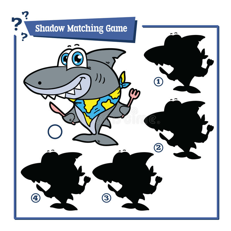 Cartoon shark game. Vector illustration of shadow matching game with happy cartoon shark for children stock illustration