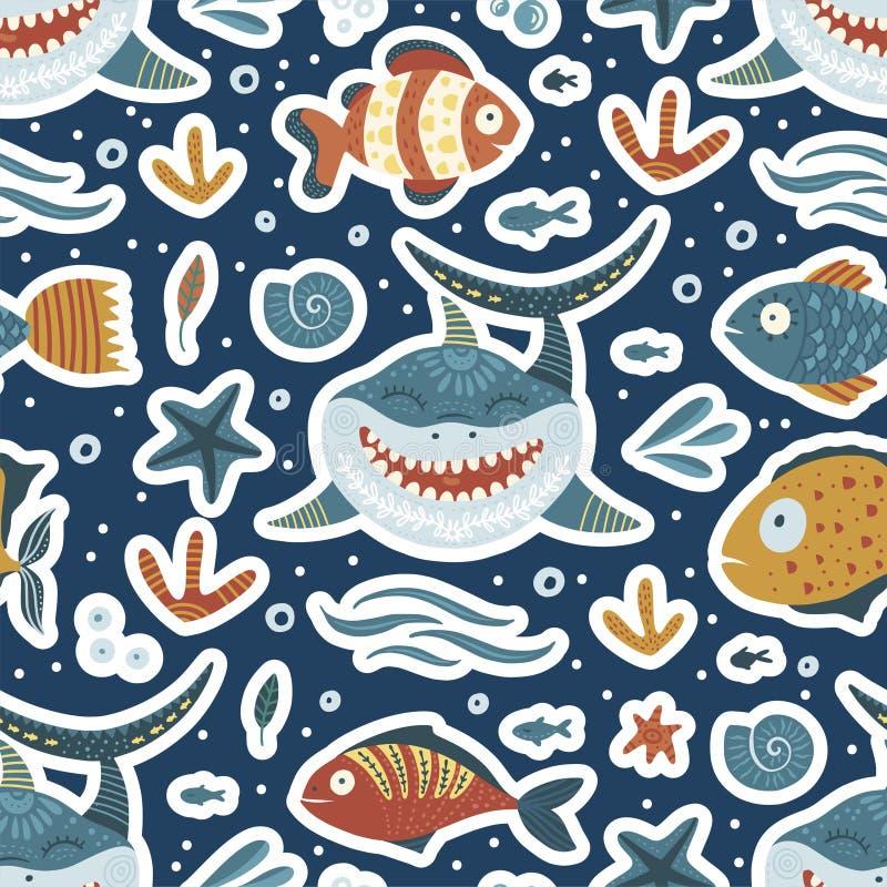 Cartoon Shark Illustration stock illustration