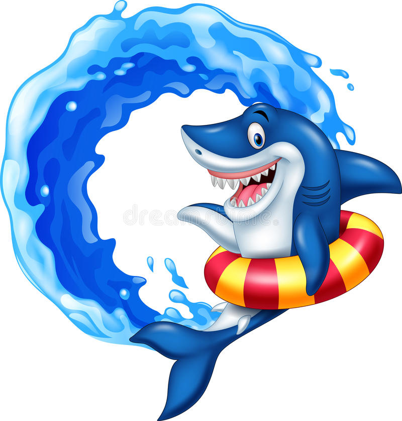 Cartoon shark with inflatable ring royalty free illustration