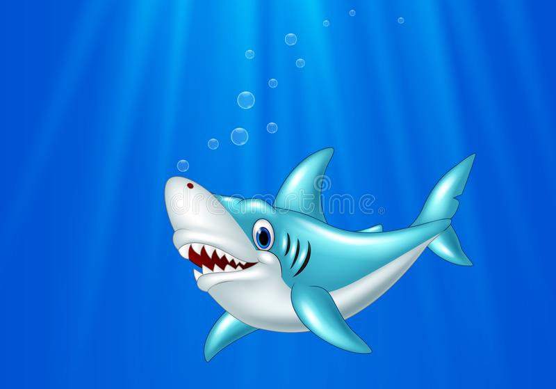 Cartoon shark swimming in the ocean royalty free illustration