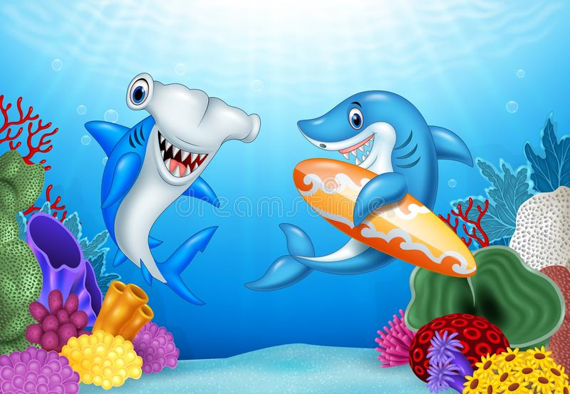 Cartoon sharks with tropical underwater background. Illustration of Cartoon sharks with tropical underwater background stock illustration