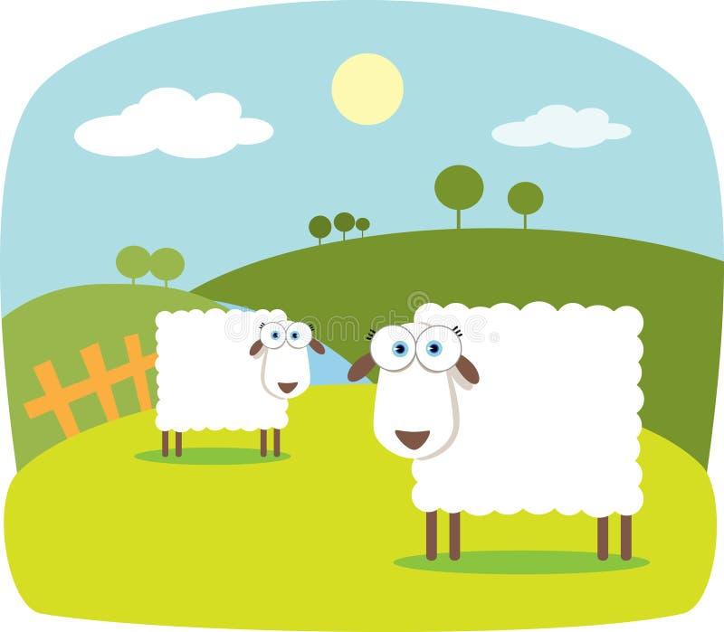 Cartoon Sheep. With Big Eye stock illustration