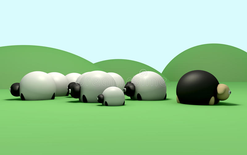 Cartoon Sheep against the flow royalty free illustration