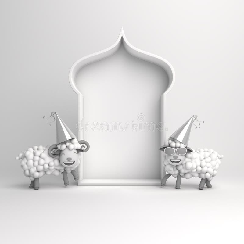 Cartoon sheep, arabic window on white background copy space text. Design creative concept for islamic celebration day ramadan kareem or eid al fitr adha. 3d vector illustration