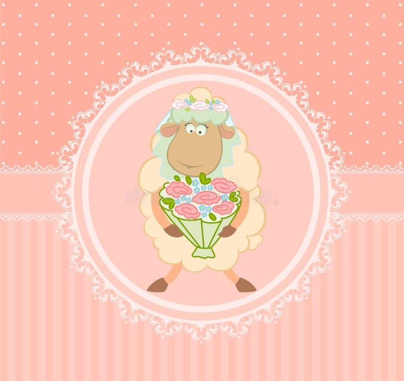 Cartoon sheep bride on background vector illustration