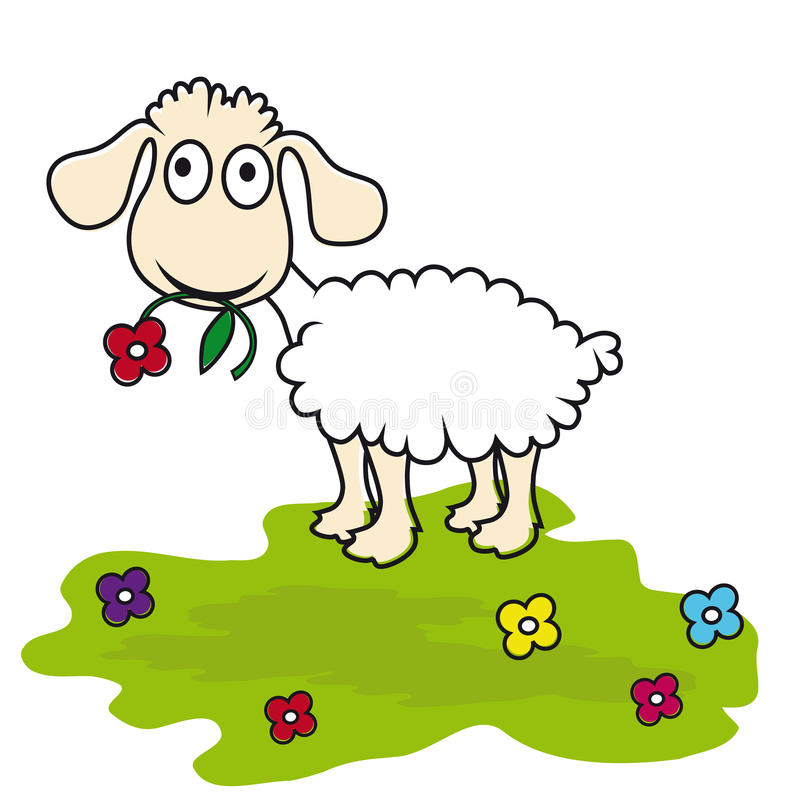 Cartoon sheep, lamb. Funny mammal stock illustration