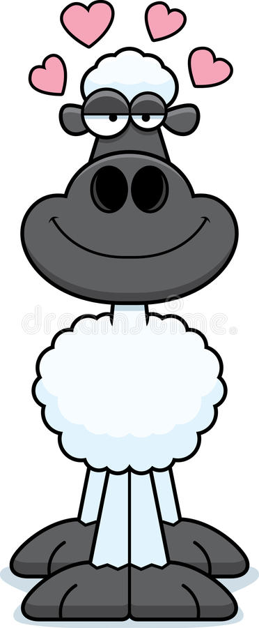 Cartoon Sheep Love. A cartoon illustration of a sheep with an in love expression vector illustration
