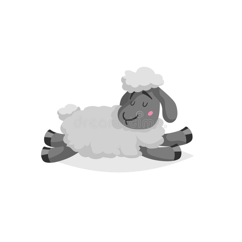 Cartoon sheep sleeping or relaxing. White wool and black skin cute farm animal lie. Vector trendy design illustration vector illustration