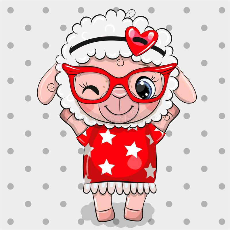 Free Cartoon Sheep With Red Glasses On A Dots Background Royalty Free Stock Image - 157276766