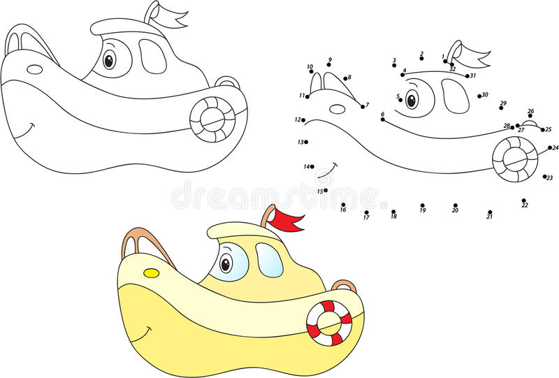 Cartoon Ship. Vector Illustration. Coloring And Dot To Dot
