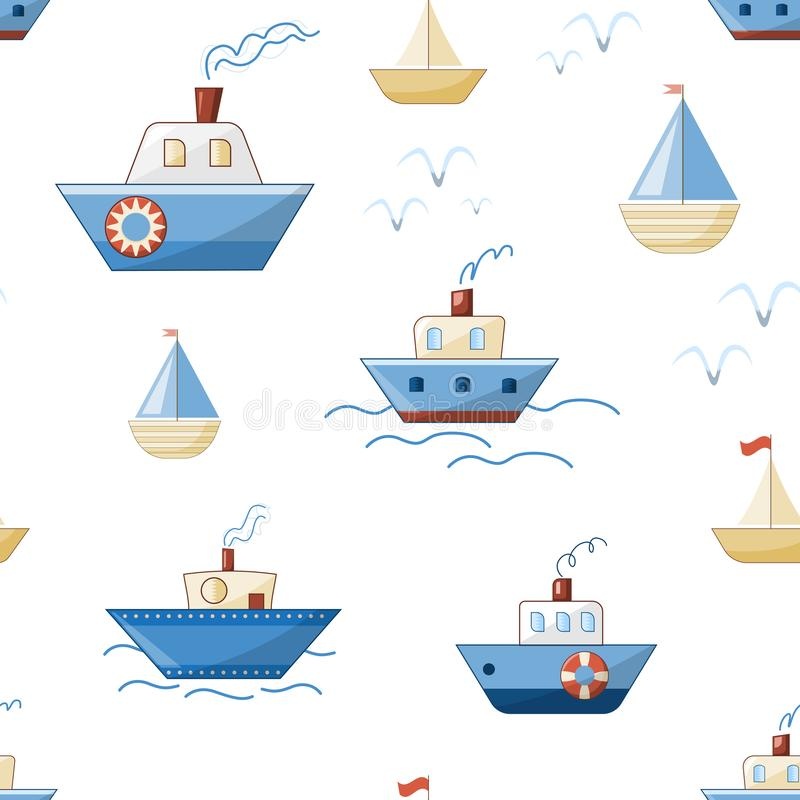 Cartoon ships, boats, steamers and yachts with waves and seagulls stock illustration