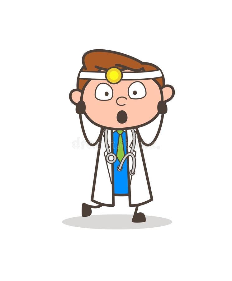 Cartoon Shocked Doctor Expression Vector Illustration royalty free illustration