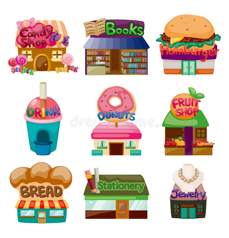Cartoon shop/house icons royalty free illustration