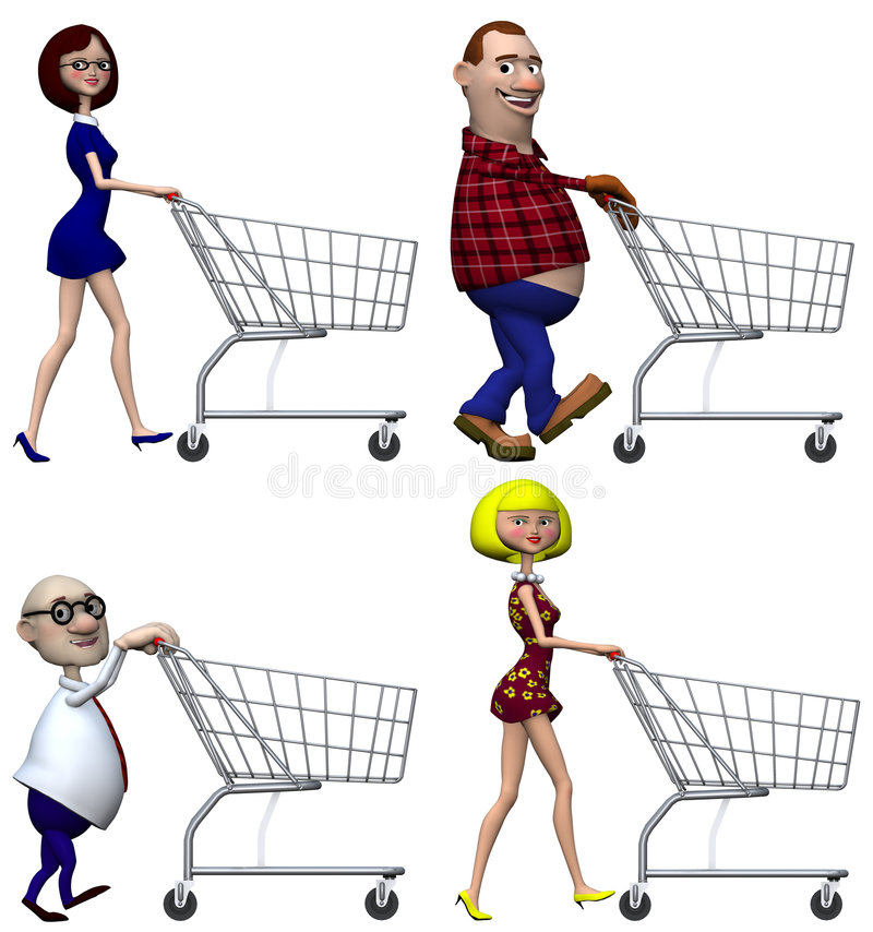Download Cartoon Shoppers Shopping Cart Stock Illustration - Illustration: 3853794