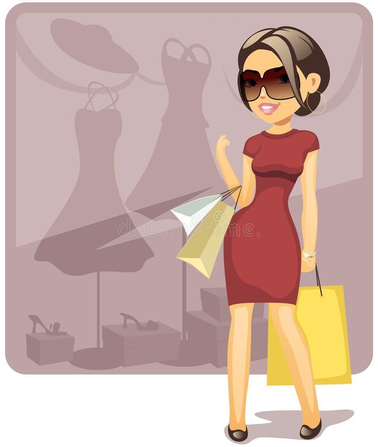 Download Cartoon shopping girl stock vector. Image of dress, cute - 14711693
