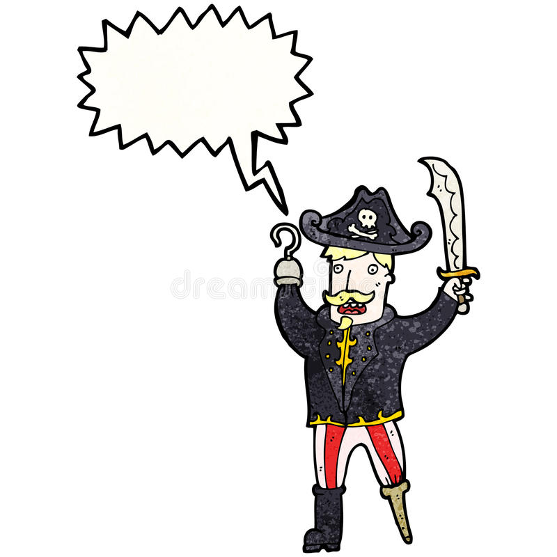 cartoon shouting pirate captain stock illustration