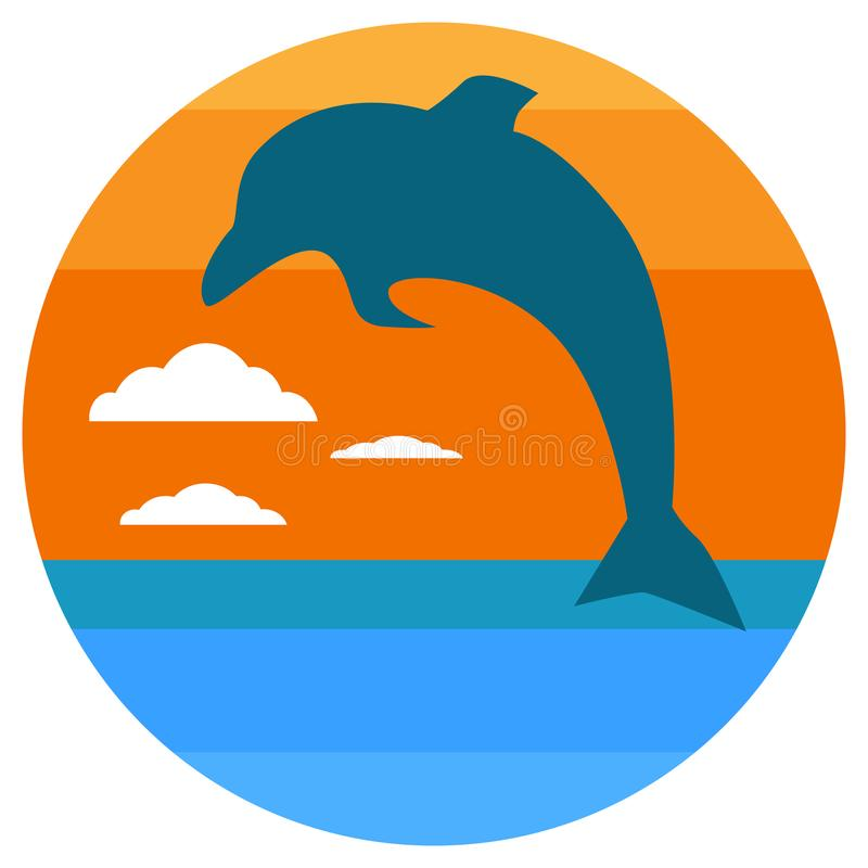 Cartoon Silhouette of dolphin jumping out of water in the ocean at sunset. summer concept. Vector illustration royalty free illustration
