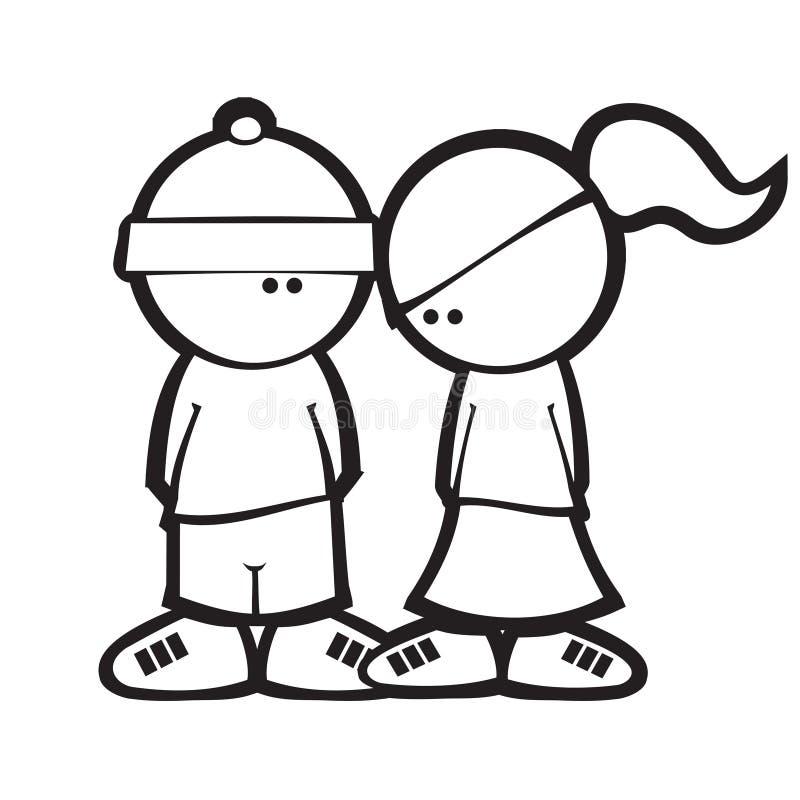 Download Cartoon Simple Style Boy & Girl Flirting Stock Vector - Illustration of likes, comic: 17876090