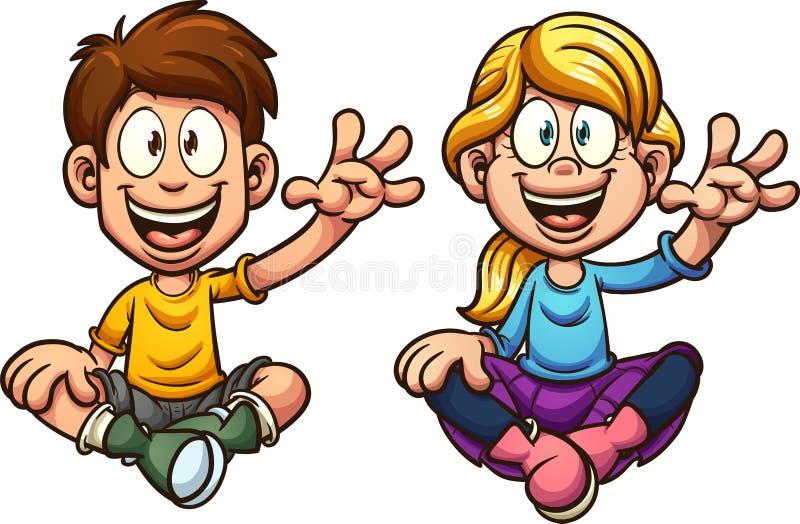 Cartoon sitting and waving kids vector illustration