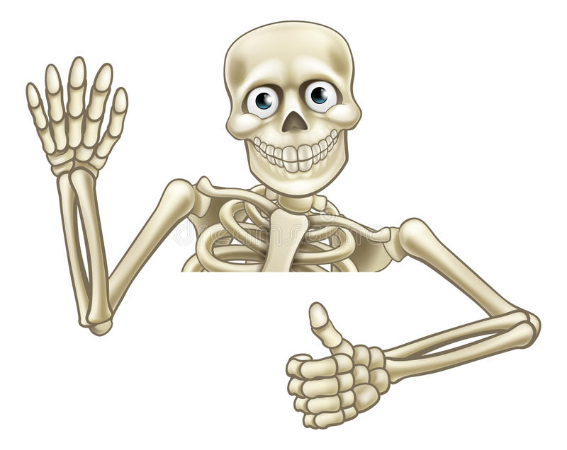 cartoon skeleton thumbs up sign stock vector image 76136841