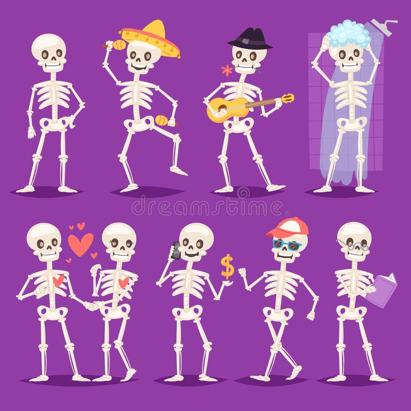 Cartoon skeleton vector bony character mexican musician or lovely couple with skull and human bones illustration vector illustration