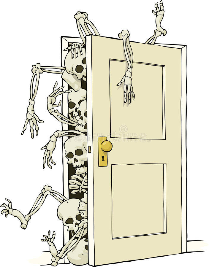 Skeletons in the closet vector illustration